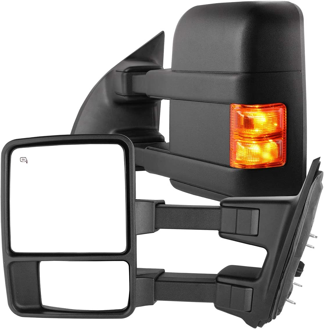 AUTOSAVER88 Tow Mirrors Compatible with 99-07 Ford F250 F350 F450 F550 Super Duty with Turn Signal Power Heated Telescoping Towing Mirrors Pair
