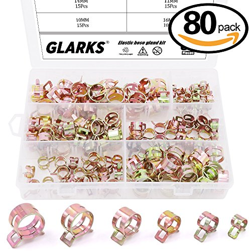 Silicone Hose Clamps (Glarks 80Pcs Spring Band Type Clips Air Hose Tube Water Pipe Fuel Pipe Silicone Vacuum Hose Clamp Fasteners Assortment Kit (7mm 10mm 11mm 14mm 16mm 17mm))