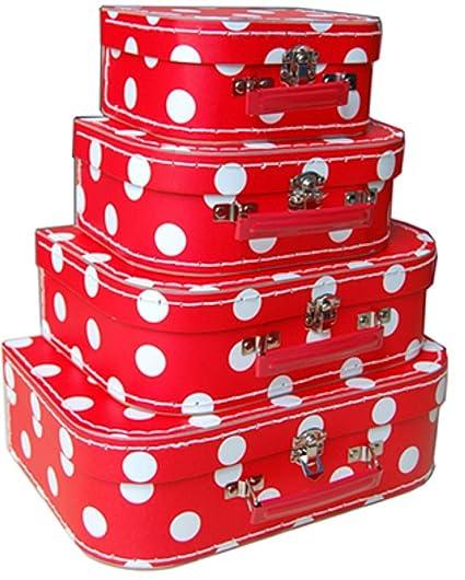 Set de 4 Maletas Infantiles Decorativas Topos Blancos. Accesorios de Equipaje. Juguetes y Juegos