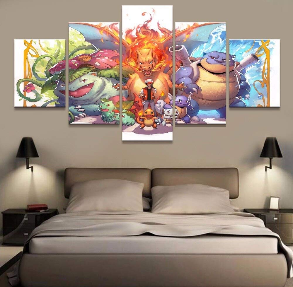 juntop 5 Unidades HD Print Pokemon Pintura Lienzo Imagen de Arte de Pared Decoraci/ón del Hogar Sal/ón Pintura de la Lona Cuadro de la Pared-Frame Impresiones sobre Lienzo