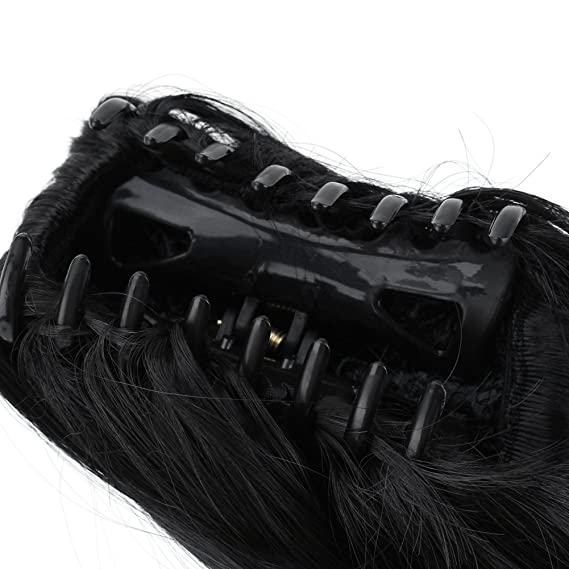 Negro Extensiones del Pelo la Cola de Caballo Natural Postizo Corto Ondulado Rizado: Amazon.es: Belleza