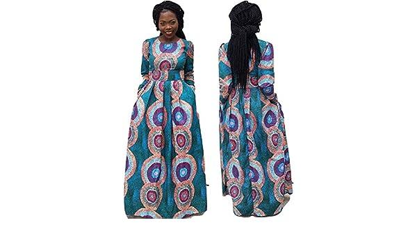 12ffae159b49b veroex Women African Full Length Long Sleeve Multi Color Maxi Dress ...