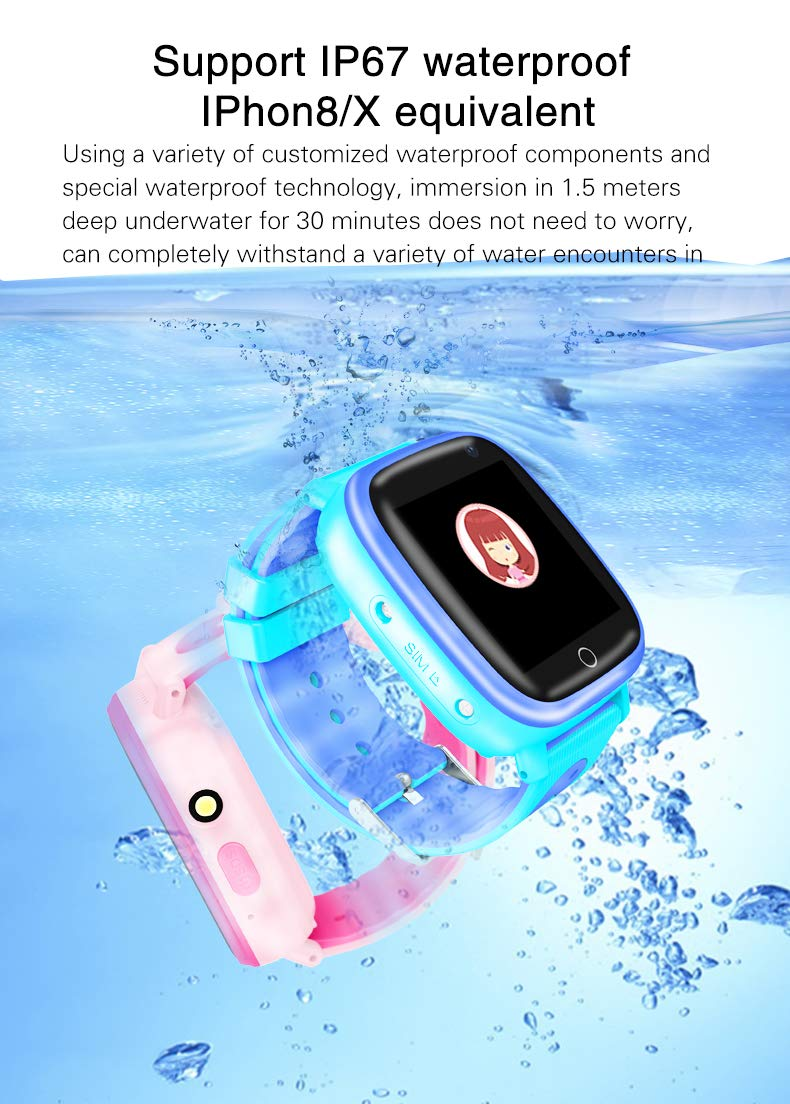 Kids Waterproof Smartwatches Phone, Children Tracker Phone with WiFi GPS LBS Positioning Locator Anti-lost SOS Call Wristwatch with Call Voice Chat Pedometer Alarm Clock for Boys Grils (Pink) by Beacon Pet (Image #8)