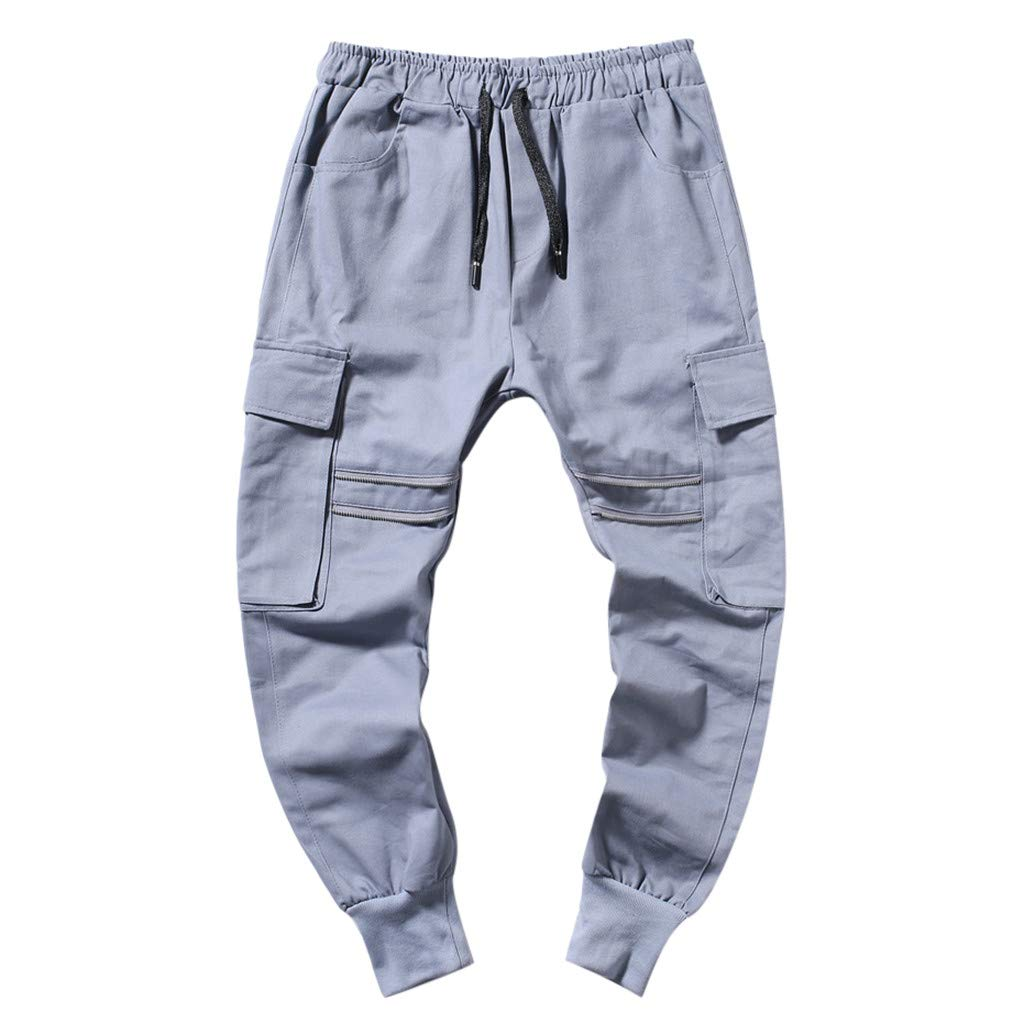 Palarn Casual Athletic Cargo Pants Clothes, Summer New European and American Mens Multi-Pocket Casual Plaid Long Short Gray