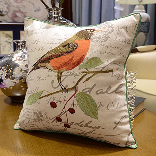 [CUSHIONLIU Cotton and Linen Creative Flowers and Birds Pillow Large High-Grade Embroidery Cushion Sets Of Sofa Big Pillow Bedside Soft Back By thePackage Oriole 45x45cm (Pillowcase +] (Oriole Bird Costume)