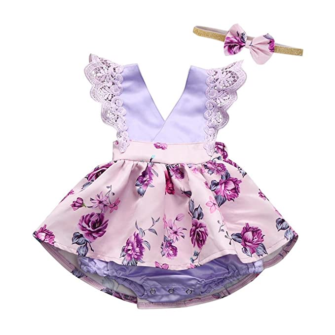 Little Baby Gilrs Sleeveless Lace Ruched V-neck Romper Jumpsuit Headband Ouifit