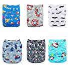 Alva Baby Reuseable Washable Pocket Cloth 6 diapers + 12 inserts (Neutral Color)6DM16