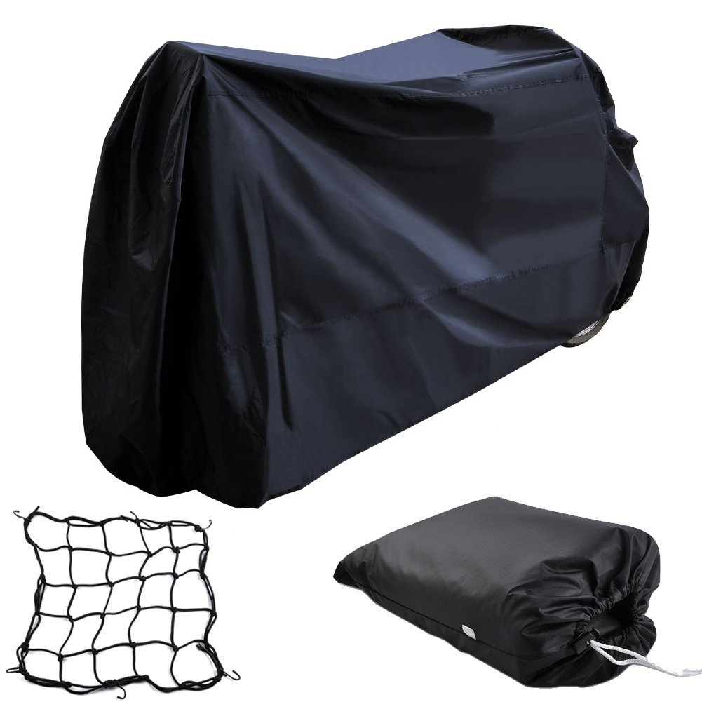 Oxford Motorcycle Cover XXL - Waterproof Outdoor Motorbike Cover for Sport Bike Harley Davison Honda Suzuki Kawasaki Yamaha Street Glide Touring with Cargo Net and Storage Bag Black
