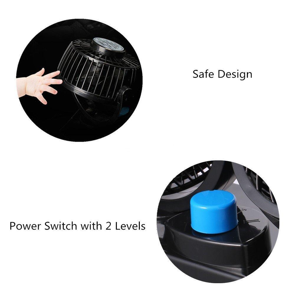 Auto Kfz L/üfter mit 2 Geschwindigkeiten und 360-Grad-Drehung Doppell/üfter Einstellbare Ventilatoren 8W//15W 12V Towinle Auto Ventilator