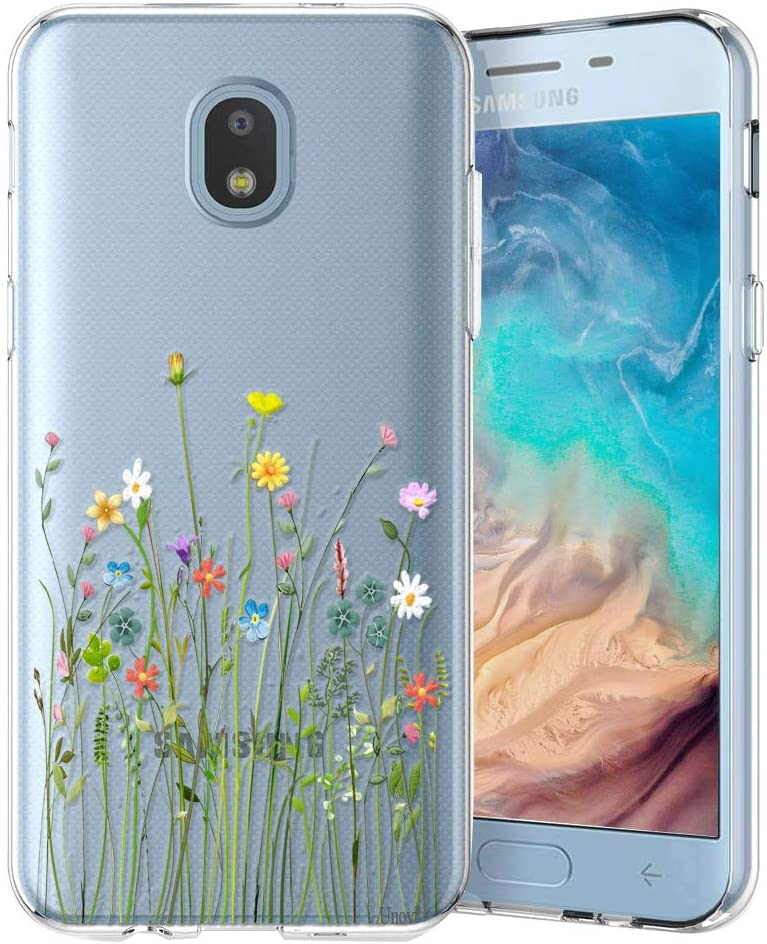 Unov Case Clear with Design for Galaxy J7 2018 Slim Protective Soft TPU Bumper Embossed Pattern for Galaxy J7 Crown J7 Refine J7 Star J7 V J7V 2nd J7 Aero J737V (Flower Bouquet)