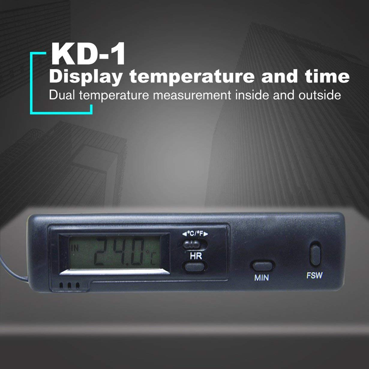 Schwarz Comomingo KD-1 Vehicle Dual Probe Thermometer 24 12h Uhr