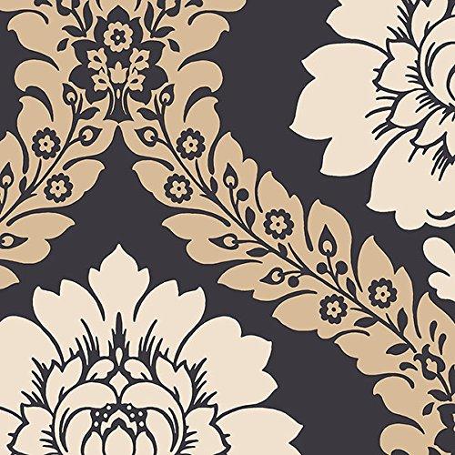 "Manhattan comfort NWSH34520 Manchester Series Vinyl Floral Damask Design Large Wallpaper Roll, 20.5"" W x 32.7"