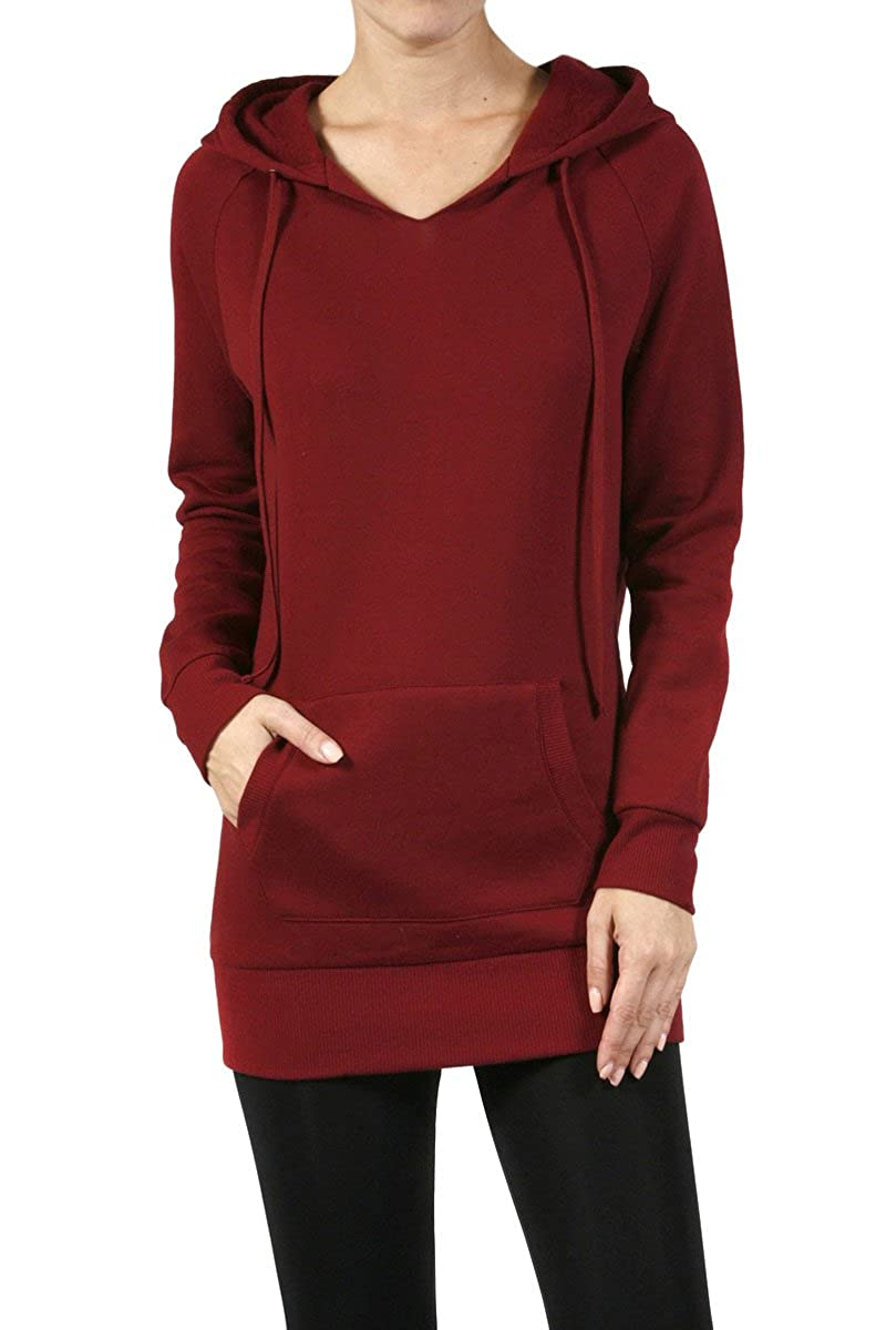 074bfbd9a83 The Lovely Fleece Thin Pullover Sweatshirt Hooded Long Tunic Top at Amazon  Women's Clothing store: