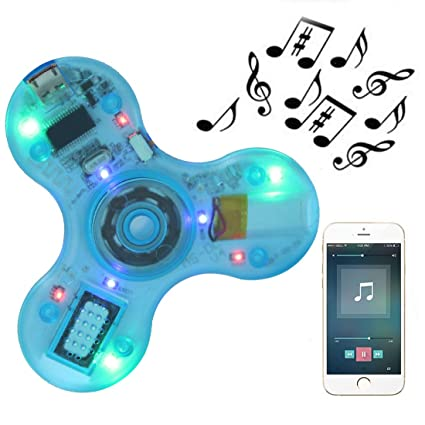 Led Finger Spinner Wireless Bluetooth Speaker Crystal Adhd Stress Relief Toy For Kids With Autism Outstanding Features Toys & Hobbies Fidget Spinner