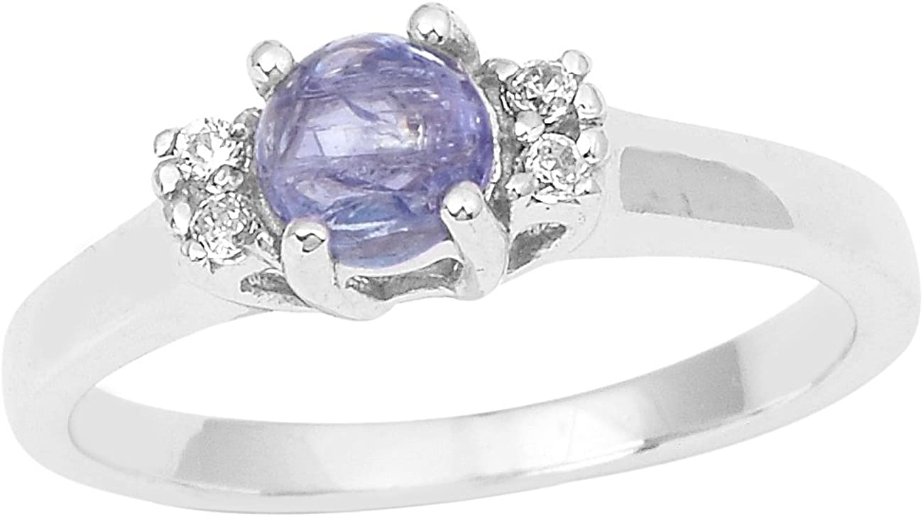 Tanzanite with White Topaz Stone 925 Sterling Silver Solitaire Stackable Band Ring for Women//Girls