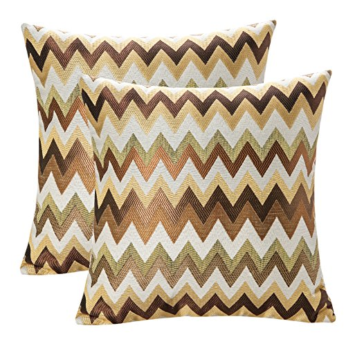Pack of 2 SimpleDecor Jacquard Chevron Pattern Cushion Covers Decorative Pillowcases Multicolor 18X18 Inch (Geometric Toss Pillow)