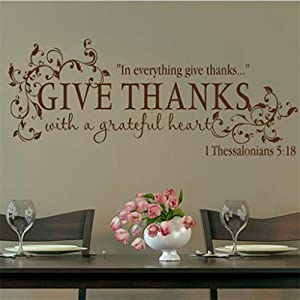 Mikayut Vinyl Wall Art Inspirational Quotes and Saying Home Decor Decal Sticker Bible Verse Give Thanks with A Grateful Heart Thanksgiving Wall Quote