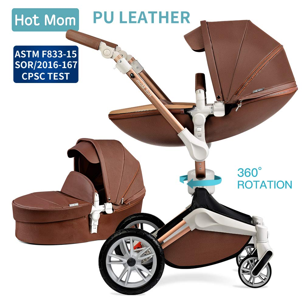 Baby Stroller 360 Rotation Function,Hot Mom Pushchair Pram,2020 New Style Coffee by Hot Mom