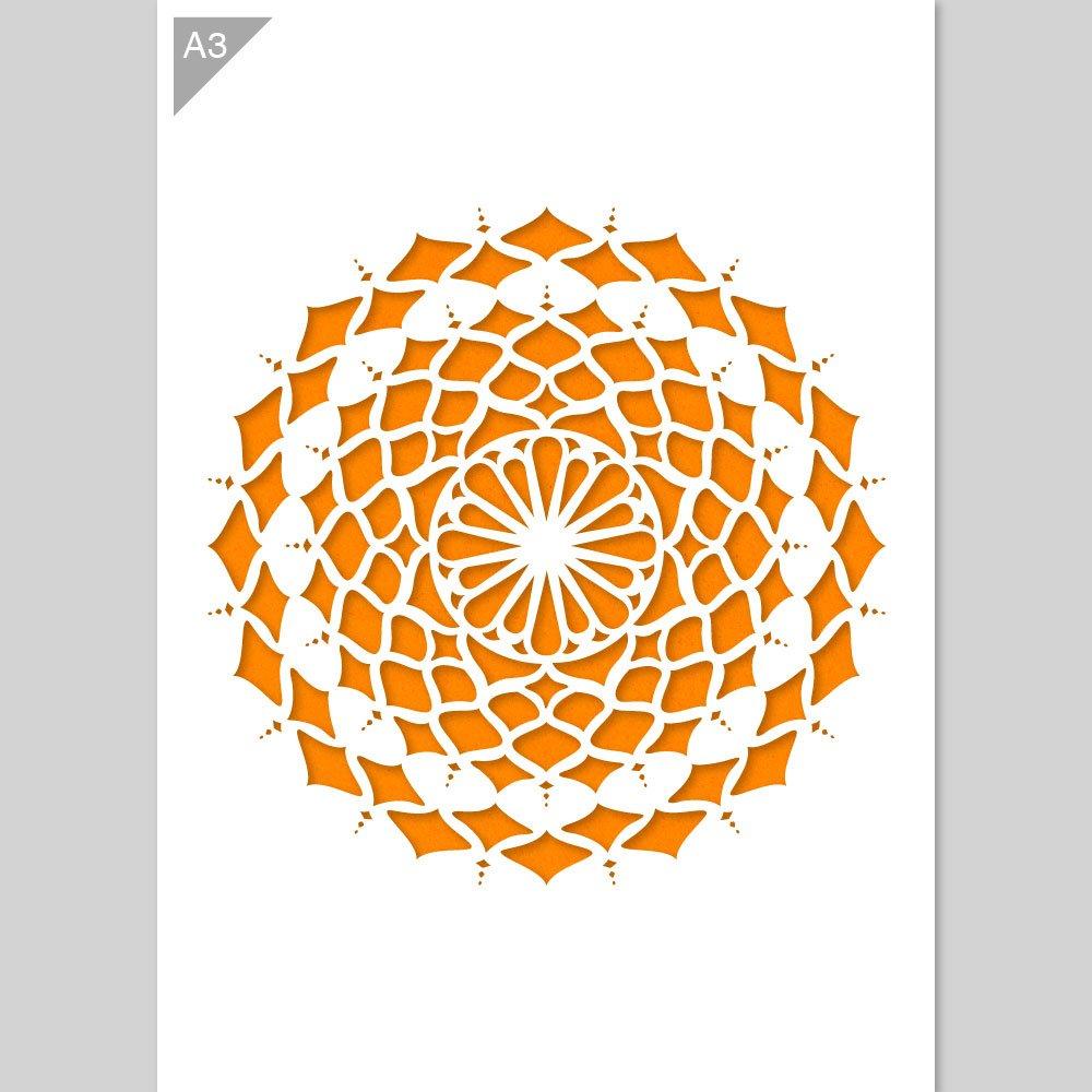 Stencil di mandala - Stencil di plastica - A3 42 x 29,7 cm - Diametro mandala è 25 cm - Stencil riutilizzabile per bambini - Pittura, forno, artigianato, muro, stencil di mobili QBIX Brand