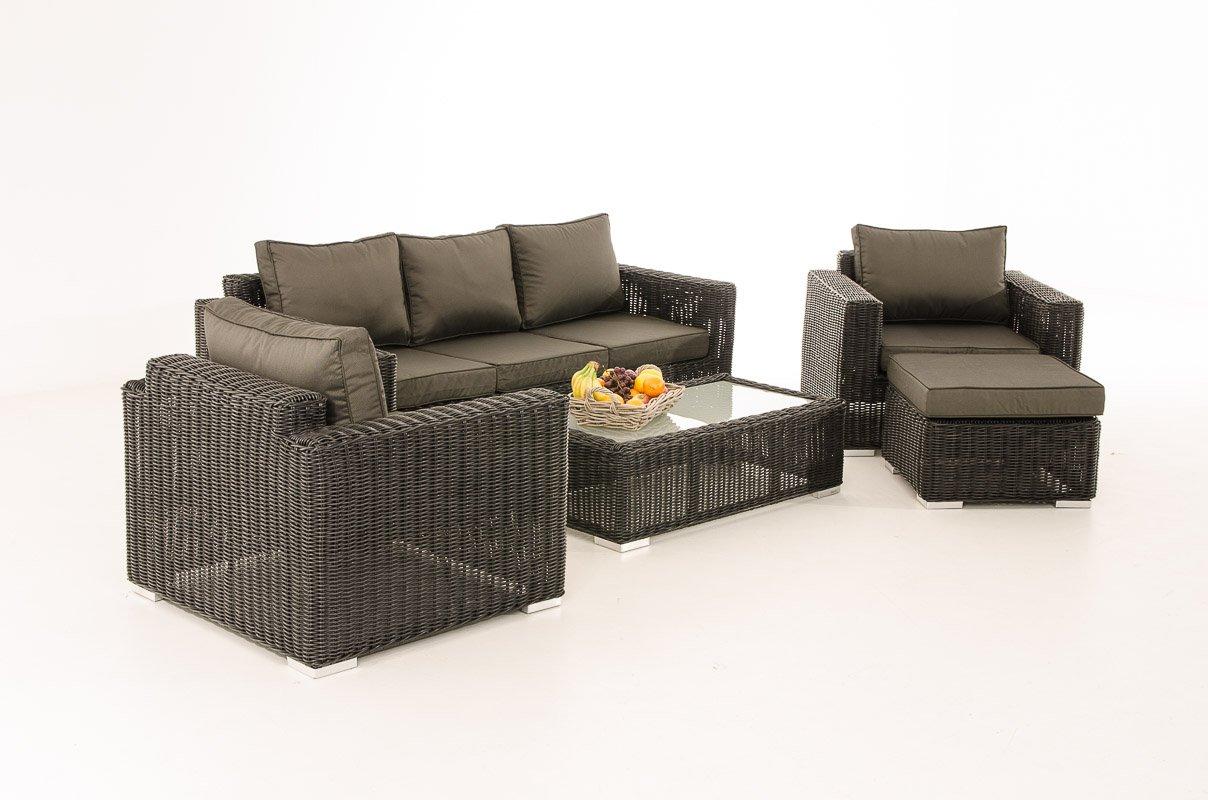 Mendler 3-1-1 Gartengarnitur CP053 Sitzgruppe Lounge-Garnitur Poly-Rattan ~ Kissen anthrazit, schwarz
