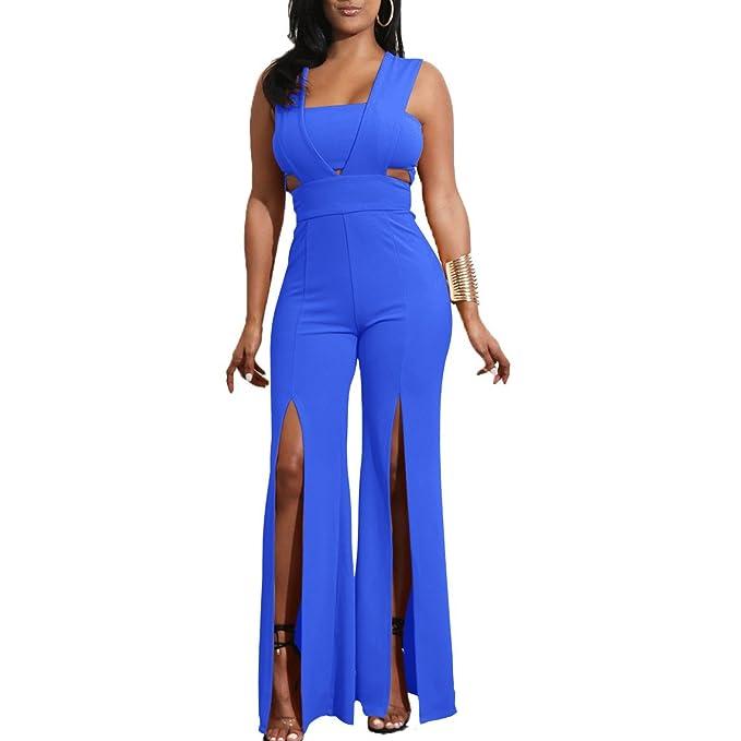 79239af6a75d Amazon.com  Wancy Womens Sexy Summer Sleeveless High Waist Slit Wide ...