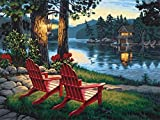 5D DIY Diamond Painting, Embroidery Painting Wall Sticker for Wall Decor, Full Drill, Two Chairs Beside The Lake (12 x 16inch) Perfect Gift Decorated Kitchen Decorated Living Room Decorated Room