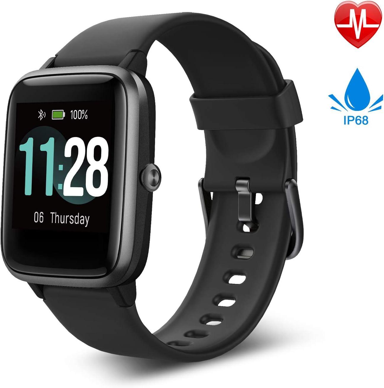 Fitpolo Reloj Inteligente, Smartwatch Hombre y Mujer Pulsera Actividad Inteligent Deportivo Impermeable IP68 con Pulsómetro, Monitor de Sueño, Pantalla Táctil Completa Reloj Fitness para Android iOS