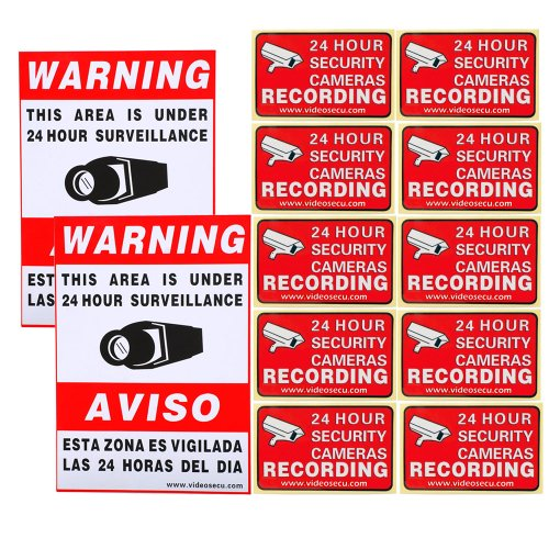 VideoSecu 12 Home CCTV Surveillance Security Camera Video Sticker Warning Decal Window Alarm Signs CKK