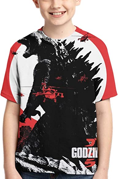 God-Zilla Short Sleeve Sports Sweat Tee for Teen Kids Boys Girls TTART Black Raglan T-Shirts
