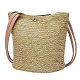 Respctful✿ 2019 Women Bucket Bag Boho Crochet Straw Shoulder Bag Casual Mini Handbag Drawstring Purse Beige