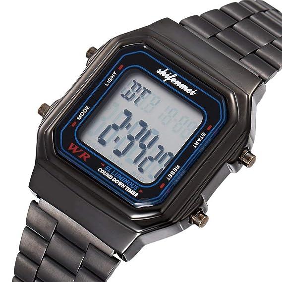 Reloj electrónico Clásicos Pantalla Digital Dial Grande Deportes Multifuncionales Reloj de Pulsera Reloj de Pulsera de Acero Inoxidable - Negro: Amazon.es: ...