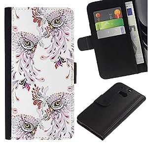 HTC One M8 Modelo colorido cuero carpeta tirón caso cubierta piel Holster Funda protección - Bird Pattern Vintage Wallpaper Floral