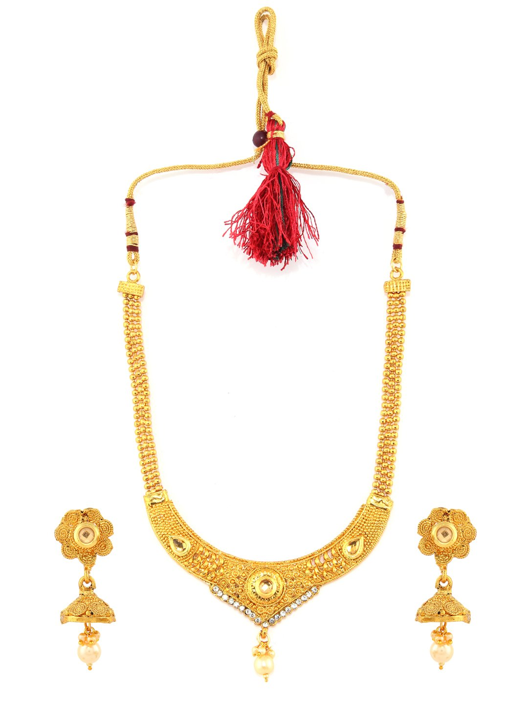 Rubans Gold Toned Traditional Indian Jewelry Bollywood Ethnic Wedding Bridal Kundan and Pearls Temple Necklace Set with Jhumka for Women