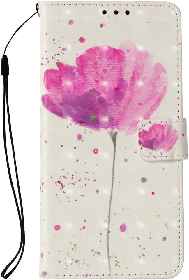 LG K30 Wallet Case, LG K10 2018 Case, LG Premier Pro Case, Voanice PU Leather with Credit Card Slots Holder Kickstand Folio Flip Cover Wrist Strap Women Men Protective Magnetic & Stylus -Pink Flower