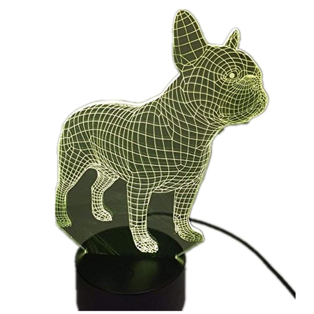 3dlamp 3D French Bulldog Night Light Table Desk Optical Illusion Lamps 7 Color Changing Lights LED Table Lamp Xmas Home Love Birthday Children Kids Decor Toy Gift