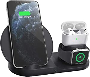 Wireless Charger, 3-in-1 Wireless Charging Station Qi-Certified Wireless Charging Stand, Wireless Fast Charging Dock Charging Pad for iPhone 11/Pro/Max/X/XS/XR/8 Plus iWatch AirPods Samsung etc, Black