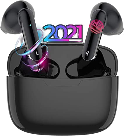 Bluetooth 5.0 Wireless Earbuds with【24Hrs Charging Case】 Waterproof TWS Stereo Headphones in-Ear Built-in Mic Headset Premium Sound for iPhone Android Apple Airpod