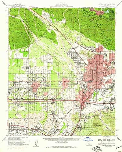 YellowMaps San Bernardino CA topo map, 1:62500 Scale, 15 X 15 Minute, Historical, 1954, Updated 1959, 20.8 x 16.6 in - Polypropylene - Enchantment Terrace