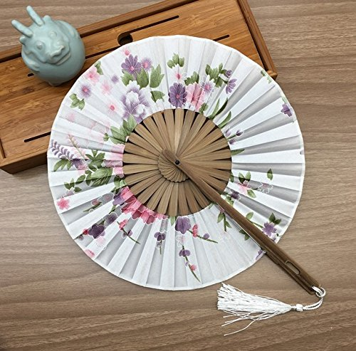White Gift Bag And Charming Floral Print Japanese Style Vintage 100% Silk Bamboo Hand Fan Wedding Party Supplies by Hand Fan