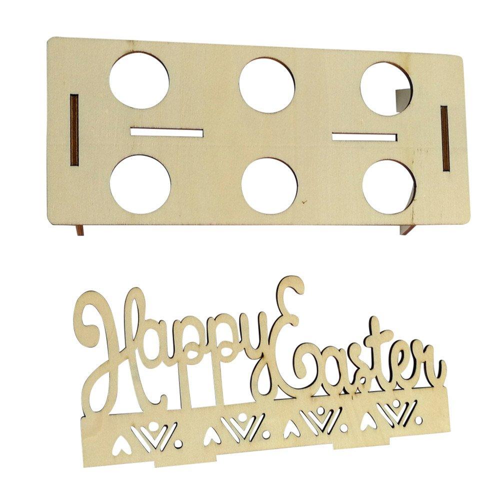 Geetobby Wooden Easter Egg Shelf Wooden Creative Easter Egg Shelves for Kids Bunny Pattern Hold Eggs