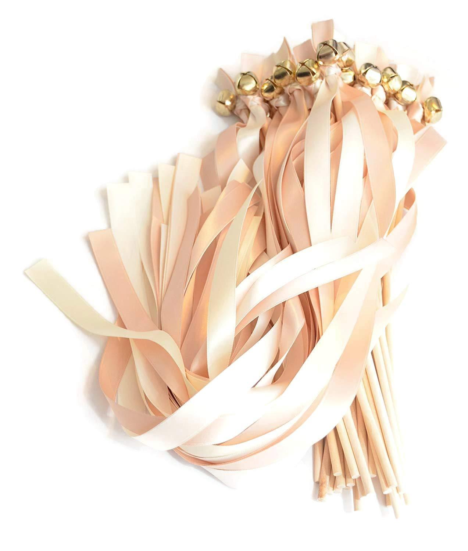 100 Blush Champagne &Ivory Ribbon Gold BellWedding Wands #DivinityBraid #SendOffBells #WeddingWands #Wedding #Favors #CeremonySendOff #Party #KissingBells #RibbonWands