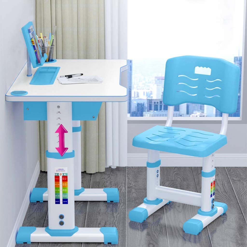 Kids Desk and Chair Set Height Adjustable Children Study Desk Chair and Table Set Students Interactive Workstation Tilt Desktop Storage Drawer Bookstand for 3-15 Yrs Boys Girls ,US Stock (Blue)
