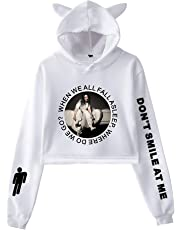 ROISHER Billie Eilish Don't Smile at Me Cute Cat Ear Hoodie for Fans Sweatshirt