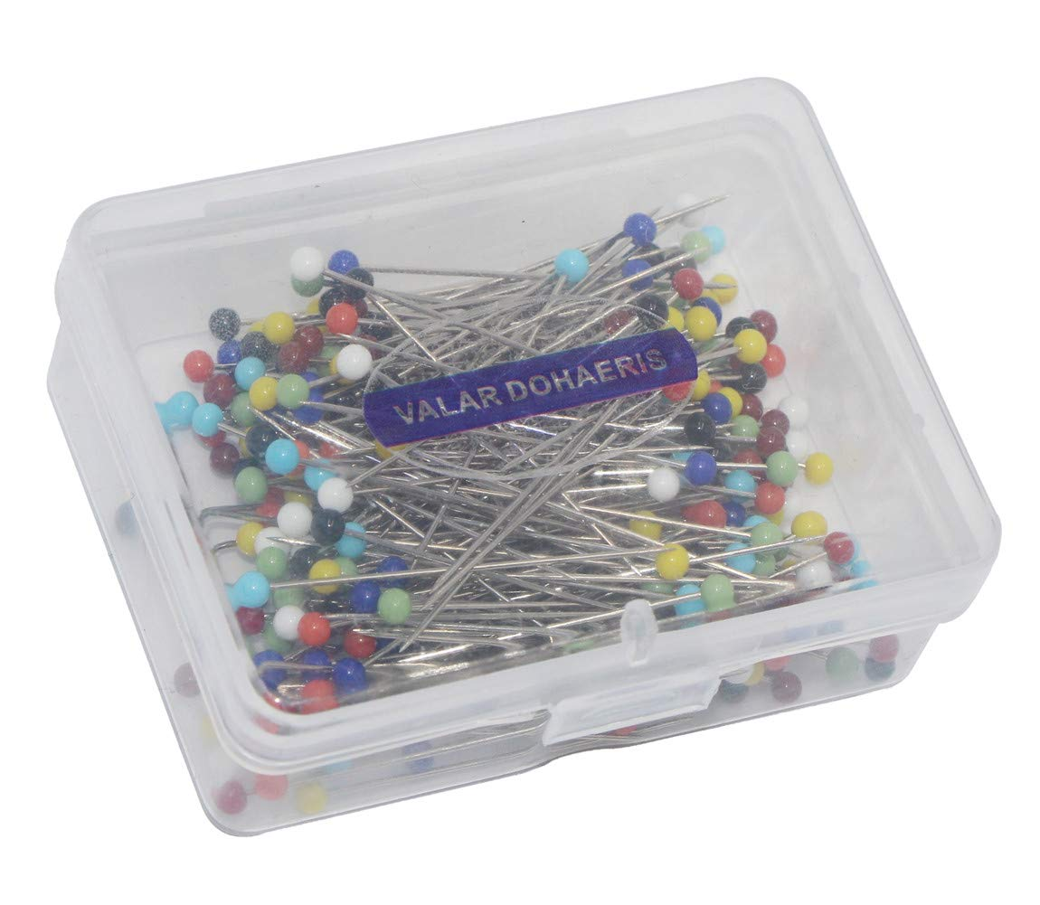 Glass Head Pins,Valar Dohaeris 500 Pieces Multicolor Weddings Corsage/Dressmaker Pins Round Ball Pearl Glass Head Sewing Straight Quilting Pins with Transparent Case