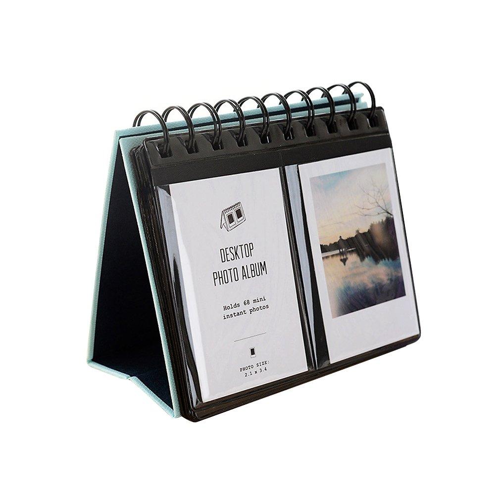 Jia HU Mini 64poches Album photo debout Bureau cadres pour Fujifilm Instax Polaroid Taille spirale albums photo Housse de rangement livre Cadeau bleu clair