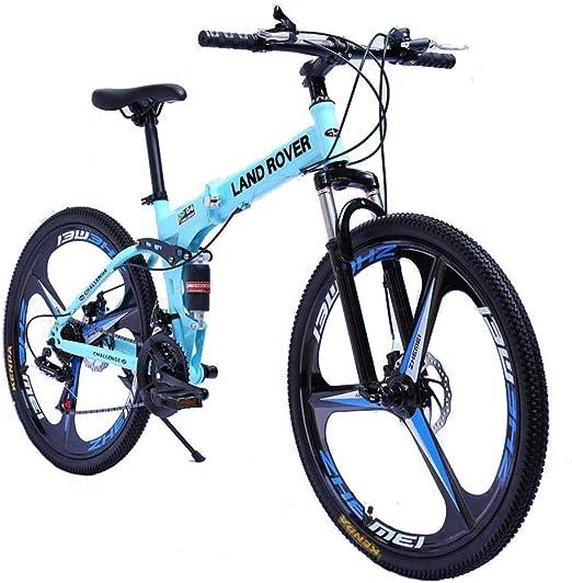 KOSGK Bicicletas para Hombres Bicicleta MontañA Foiding con Cuadro Acero Mediano Y Ruedas 26 Pulgadas con Frenos Disco MecáNicos Tren TransmisióN 27 Velocidades, Azul, 21 Velocidades: Amazon.es: Hogar