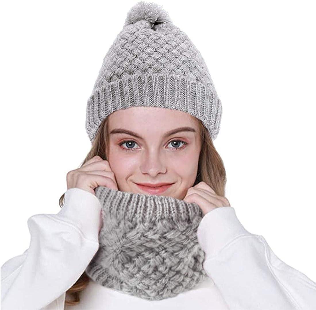 specool Winter Beanie M/ütze Schal Set Fleece-Innenfutter Warm Stretchy Knit Beanie Cap Elastischer Halsw/ärmer f/ür Frauen M/ädchen