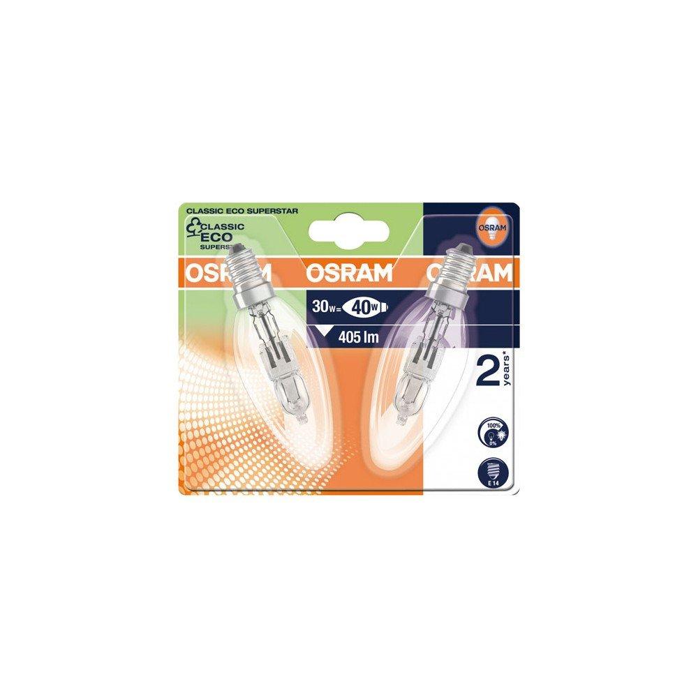 Osram Classic B Halogen-Lampe, E14-Sockel, dimmbar, 46 Watt - Ersatz für 60 Watt, Warmweiß - 2700K Ledvance 64543 B ES