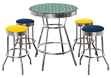51f186acdbd5 Image Unavailable. Image not available for. Color: Batman Themed 5 Piece  Bar Table Set! Glass Top ...