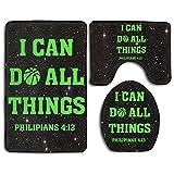 I Can Do All Things Bible Verse Christian Fashion Bath Mat Set Bathroom Carpet Rug Non-Slip 3 Piece Bath Mat Set